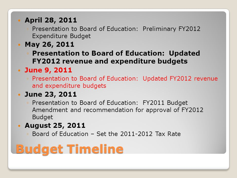 Budget Timeline April 28, 2011 ◦Presentation to Board of Education: Preliminary FY2012 Expenditure Budget May 26, 2011 ◦Presentation to Board of Education: Updated FY2012 revenue and expenditure budgets June 9, 2011 ◦Presentation to Board of Education: Updated FY2012 revenue and expenditure budgets June 23, 2011 ◦Presentation to Board of Education: FY2011 Budget Amendment and recommendation for approval of FY2012 Budget August 25, 2011 ◦Board of Education – Set the Tax Rate