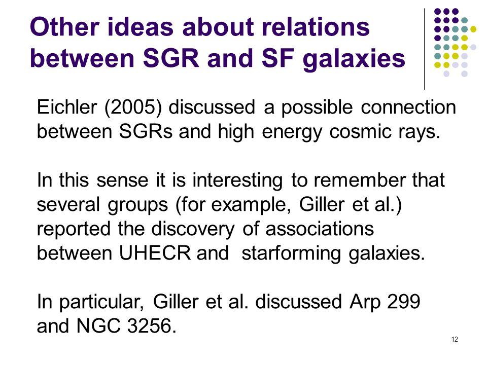 12 Other ideas about relations between SGR and SF galaxies Eichler (2005) discussed a possible connection between SGRs and high energy cosmic rays.