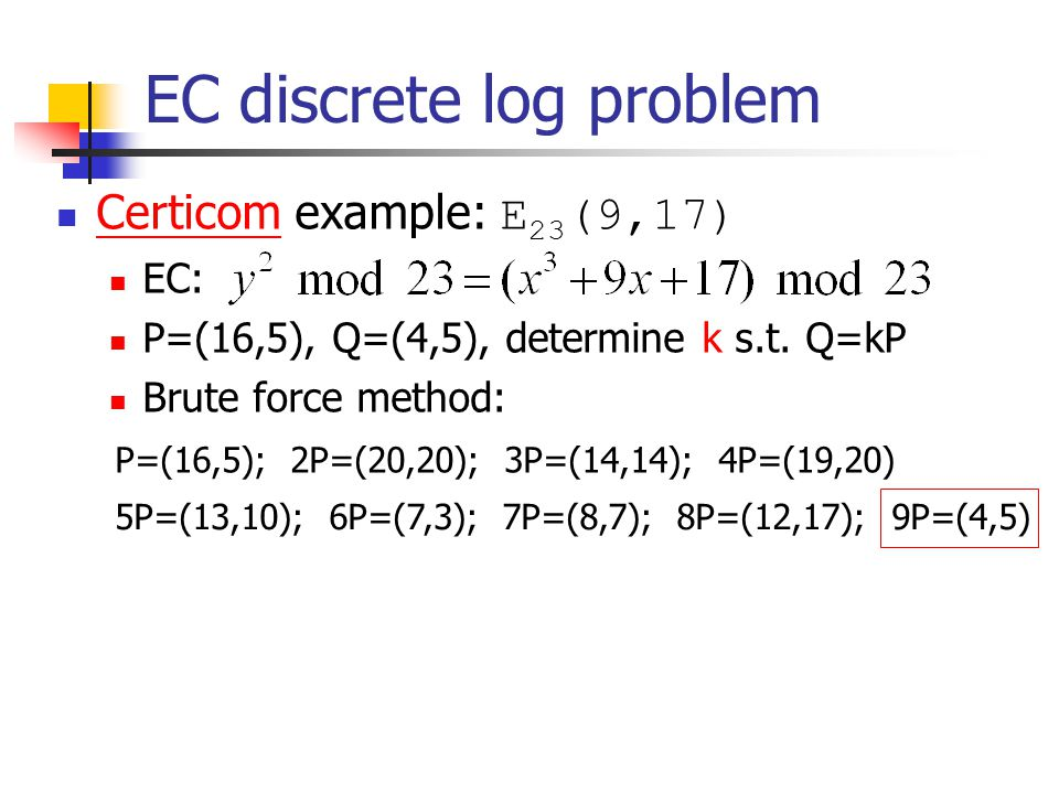 EC discrete log problem Certicom example: E 23 (9,17) Certicom EC: P=(16,5), Q=(4,5), determine k s.t.