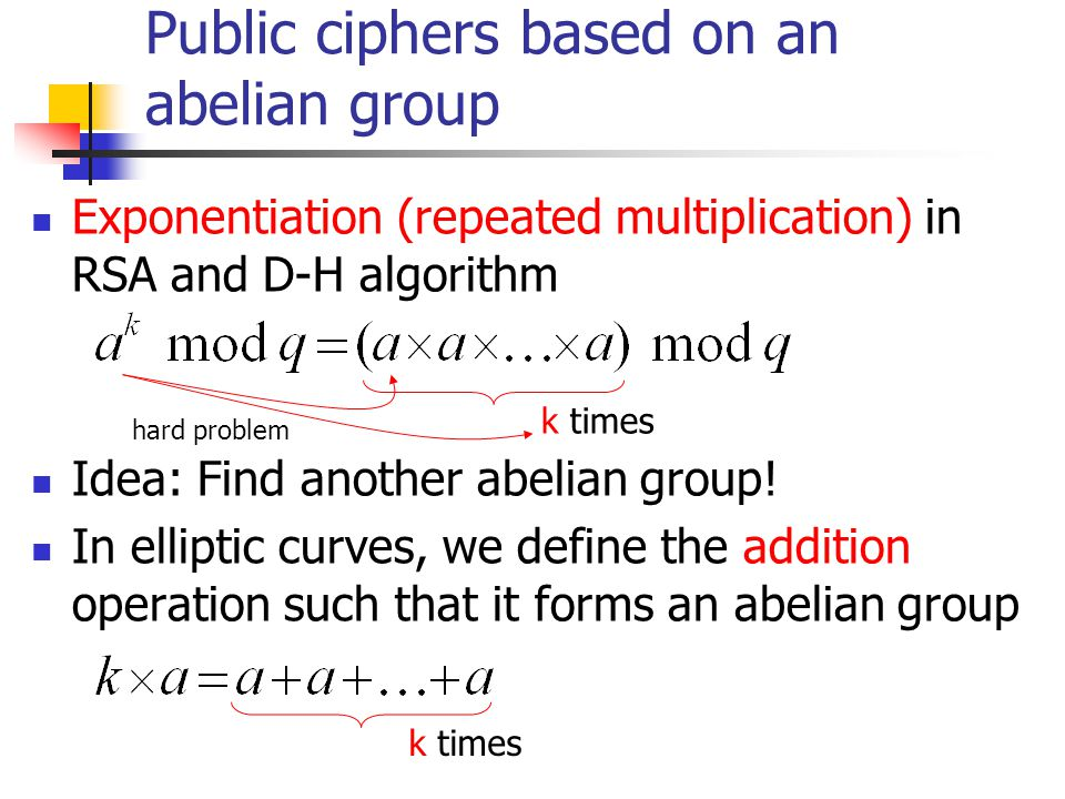 Public ciphers based on an abelian group Exponentiation (repeated multiplication) in RSA and D-H algorithm Idea: Find another abelian group.
