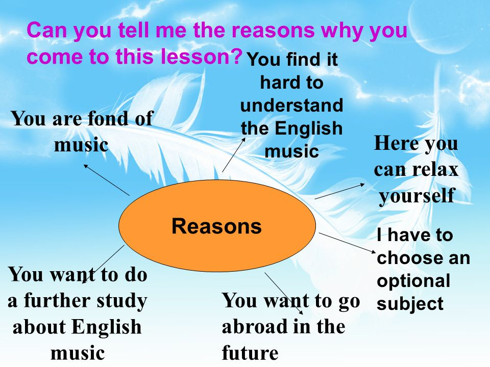 Can you tell me the reasons why you come to this lesson.