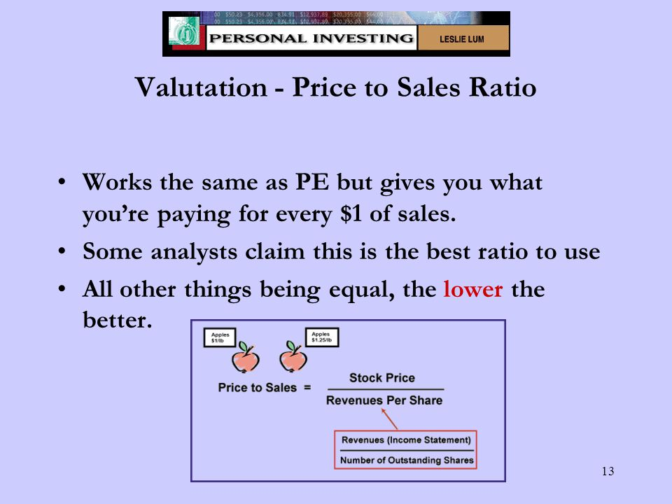 13 Valutation - Price to Sales Ratio Works the same as PE but gives you what you're paying for every $1 of sales.
