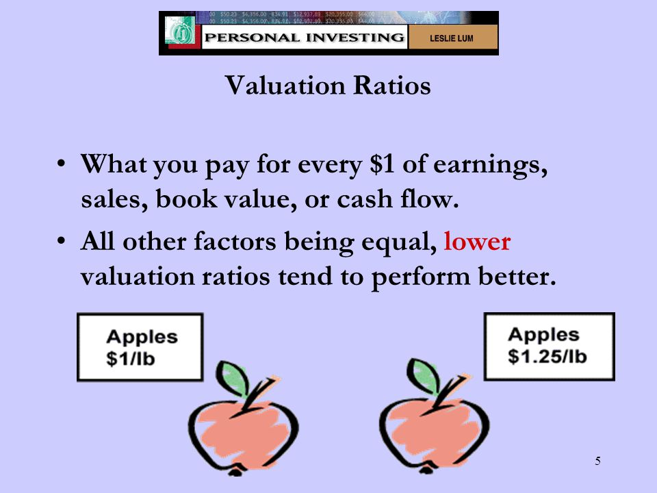 5 Valuation Ratios What you pay for every $1 of earnings, sales, book value, or cash flow.