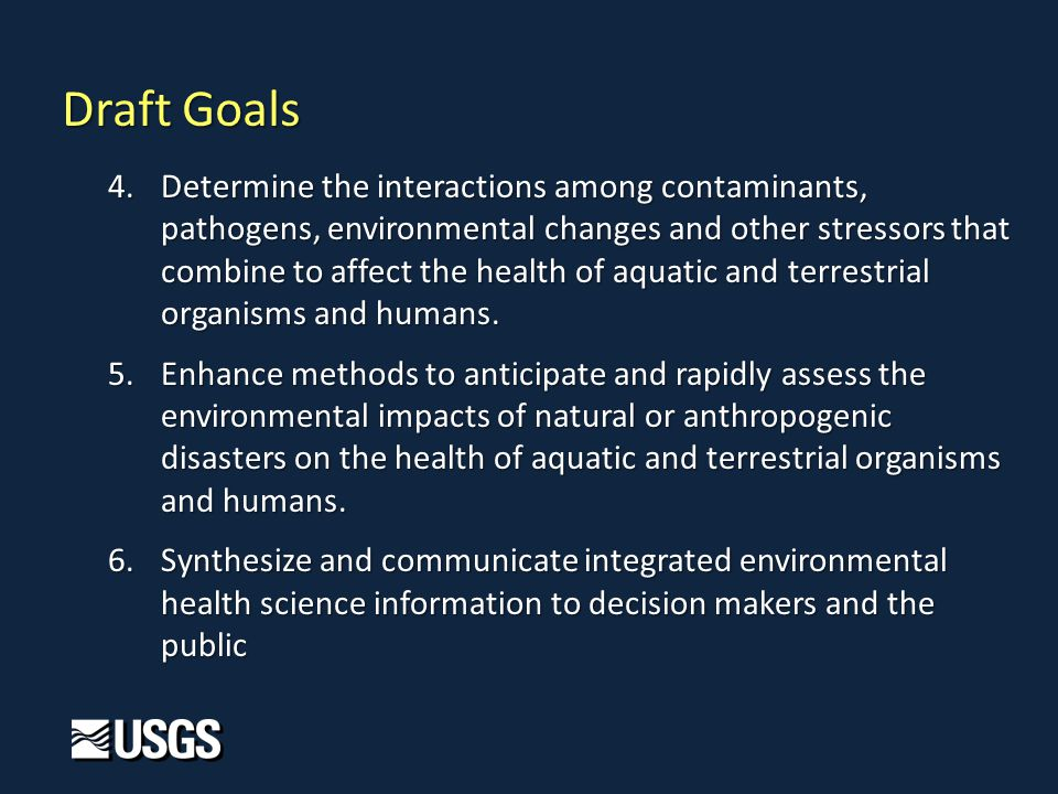 4.Determine the interactions among contaminants, pathogens, environmental changes and other stressors that combine to affect the health of aquatic and terrestrial organisms and humans.