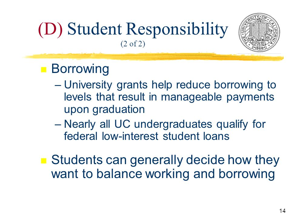14 (D) Student Responsibility (2 of 2) n Borrowing –University grants help reduce borrowing to levels that result in manageable payments upon graduation –Nearly all UC undergraduates qualify for federal low-interest student loans n Students can generally decide how they want to balance working and borrowing
