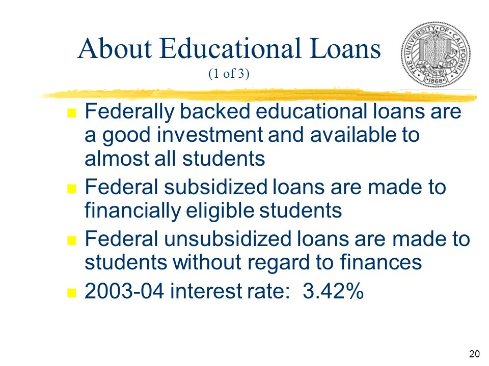 20 About Educational Loans (1 of 3) n Federally backed educational loans are a good investment and available to almost all students n Federal subsidized loans are made to financially eligible students n Federal unsubsidized loans are made to students without regard to finances n interest rate: 3.42%