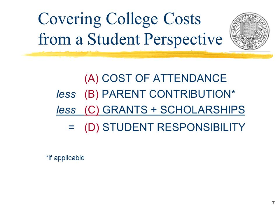 7 Covering College Costs from a Student Perspective (A) COST OF ATTENDANCE less (B) PARENT CONTRIBUTION* less (C) GRANTS + SCHOLARSHIPS = (D) STUDENT RESPONSIBILITY *if applicable