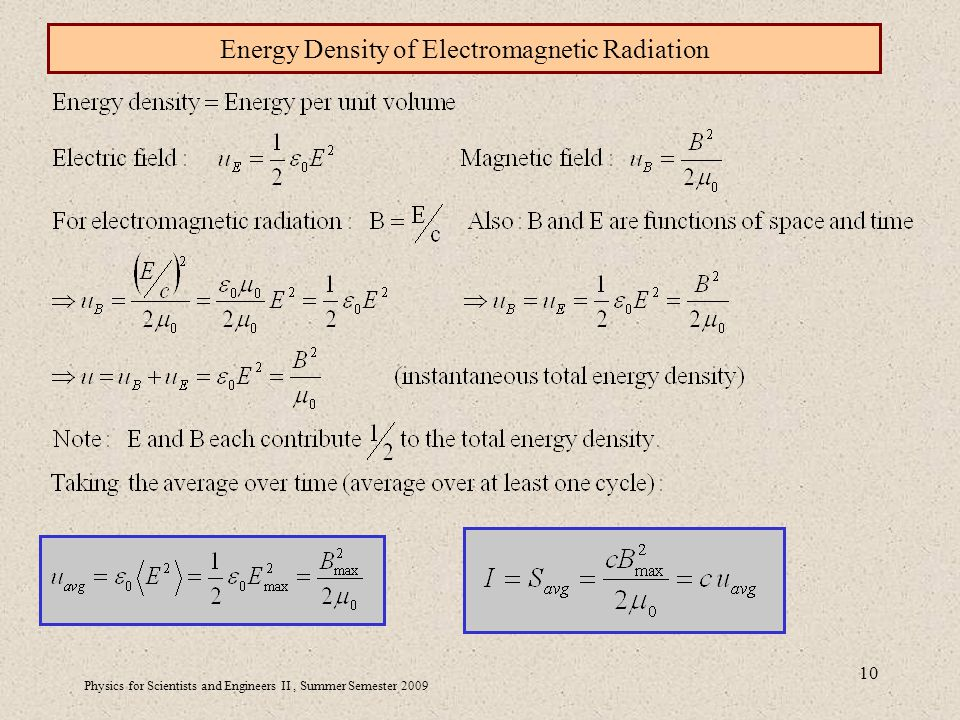 Physics for Scientists and Engineers II, Summer Semester Energy Density of Electromagnetic Radiation