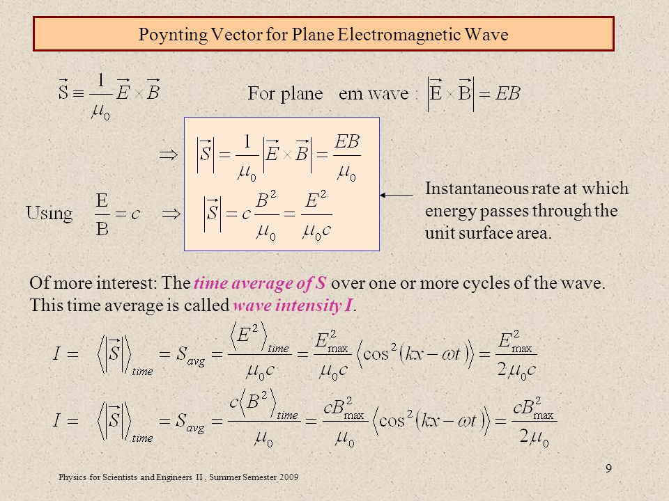 Physics for Scientists and Engineers II, Summer Semester Poynting Vector for Plane Electromagnetic Wave Instantaneous rate at which energy passes through the unit surface area.