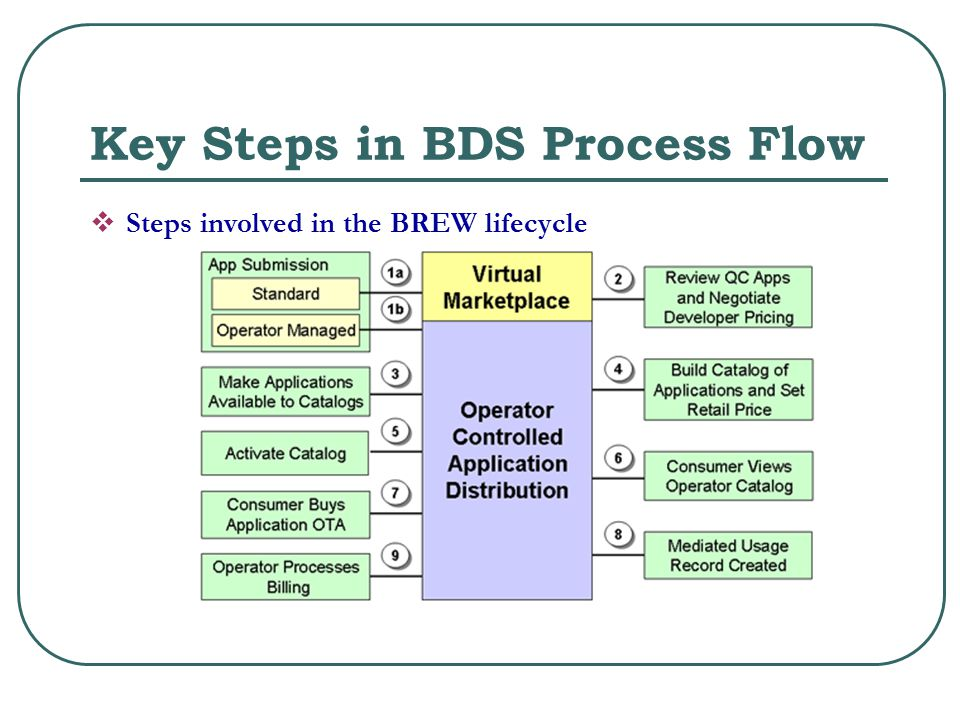 Key Steps in BDS Process Flow  Steps involved in the BREW lifecycle