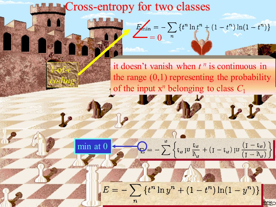 Cross-entropy for two classes Absolute minimum logistic activation function for the output BP Natural pairing  sum-of-squares + linear output units  cross-entropy + logistic output unit Natural pairing  sum-of-squares + linear output units  cross-entropy + logistic output unit