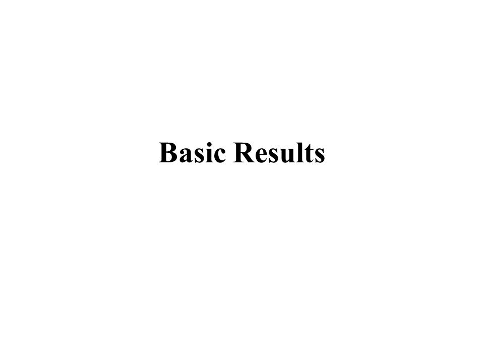 Basic Results