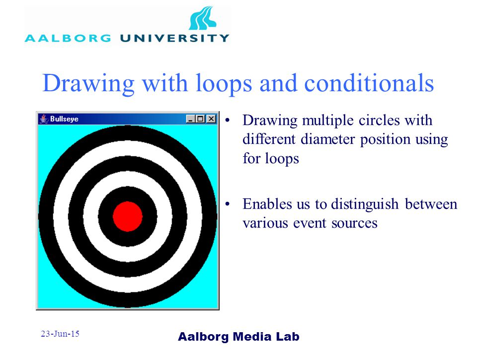 Aalborg Media Lab 23-Jun-15 Drawing with loops and conditionals Drawing multiple circles with different diameter position using for loops Enables us to distinguish between various event sources