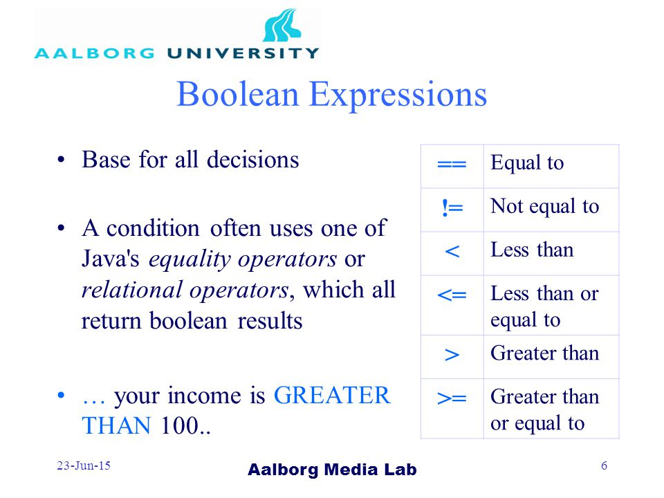 Aalborg Media Lab 23-Jun-156 Boolean Expressions Base for all decisions A condition often uses one of Java s equality operators or relational operators, which all return boolean results … your income is GREATER THAN 100..