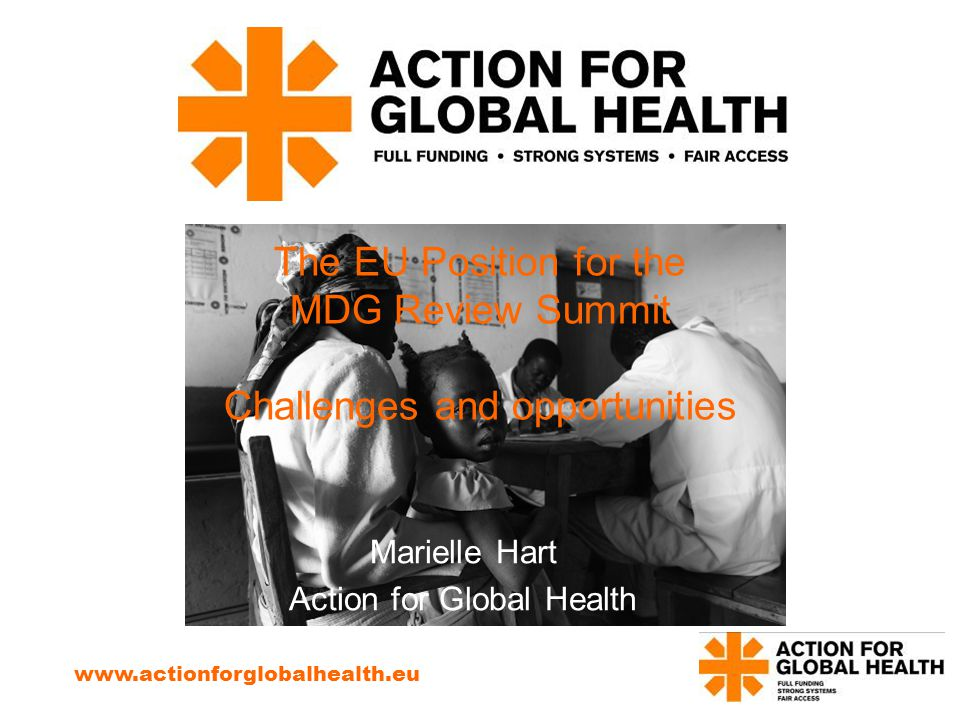 The EU Position for the MDG Review Summit Challenges and opportunities Marielle Hart Action for Global Health