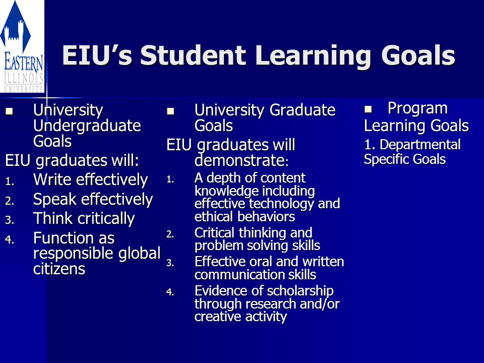 EIU's Student Learning Goals University Undergraduate Goals University Undergraduate Goals EIU graduates will: 1.