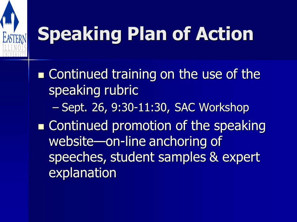 Speaking Plan of Action Continued training on the use of the speaking rubric Continued training on the use of the speaking rubric –Sept.