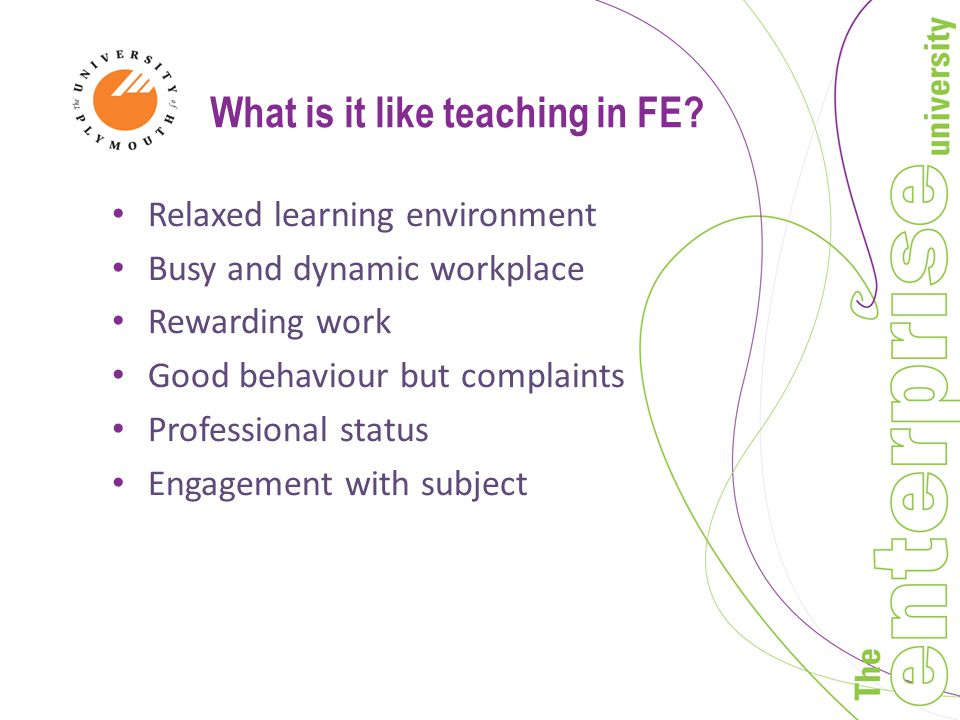What is it like teaching in FE.