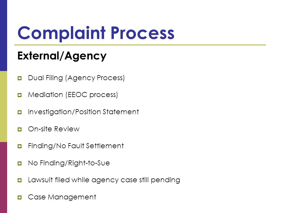Complaint Process External/Agency  Dual Filing (Agency Process)  Mediation (EEOC process)  Investigation/Position Statement  On-site Review  Finding/No Fault Settlement  No Finding/Right-to-Sue  Lawsuit filed while agency case still pending  Case Management