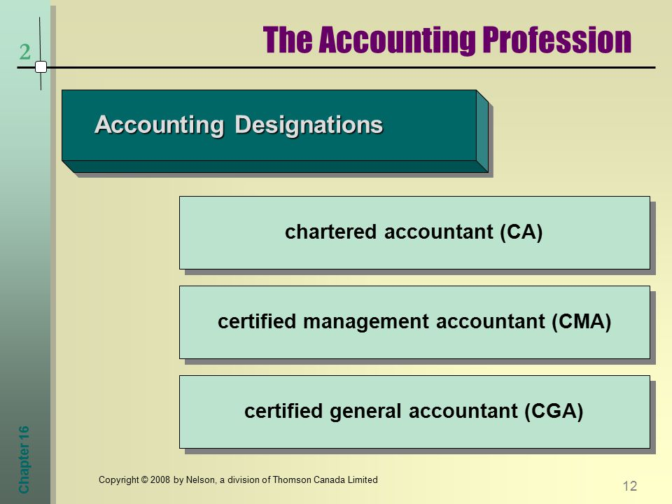 Chapter Copyright © 2008 by Nelson, a division of Thomson Canada Limited 2 The Accounting Profession Accounting Designations chartered accountant (CA) certified management accountant (CMA) certified general accountant (CGA)