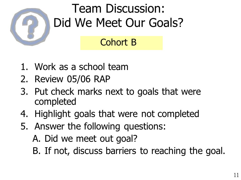 11 Team Discussion: Did We Meet Our Goals.