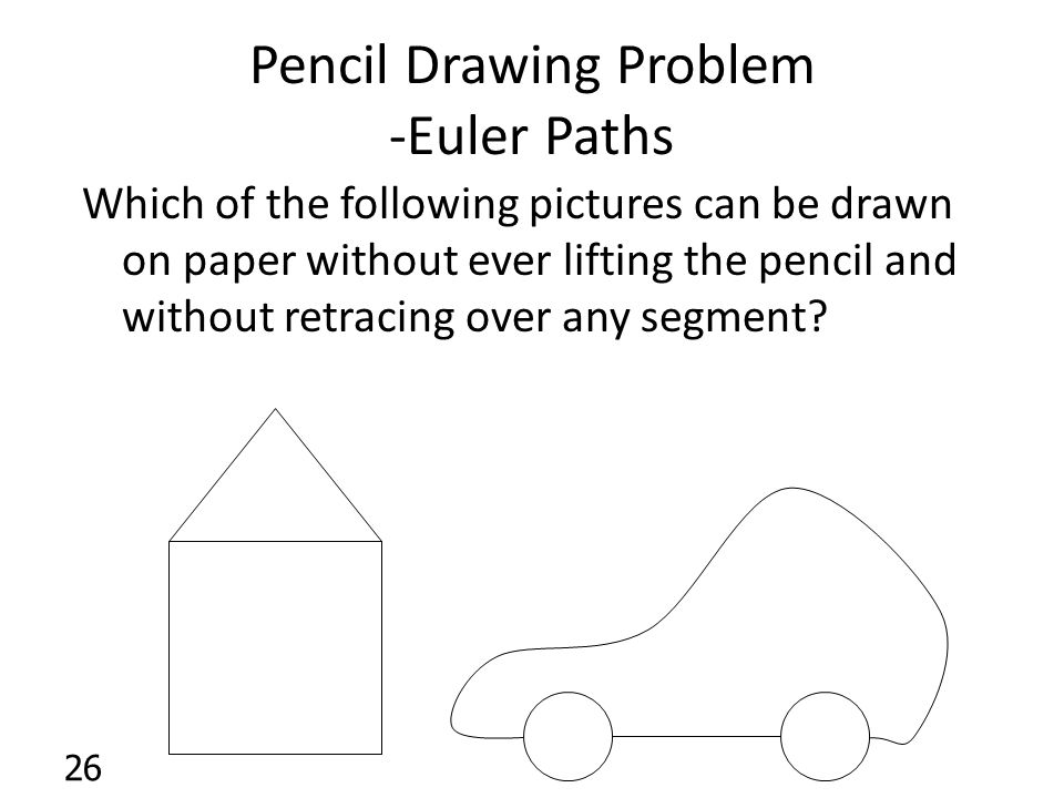Pencil Drawing Problem -Euler Paths Which of the following pictures can be drawn on paper without ever lifting the pencil and without retracing over any segment.