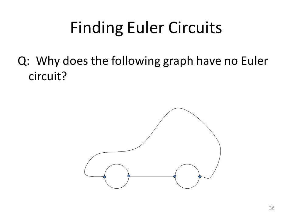 Finding Euler Circuits Q: Why does the following graph have no Euler circuit 36