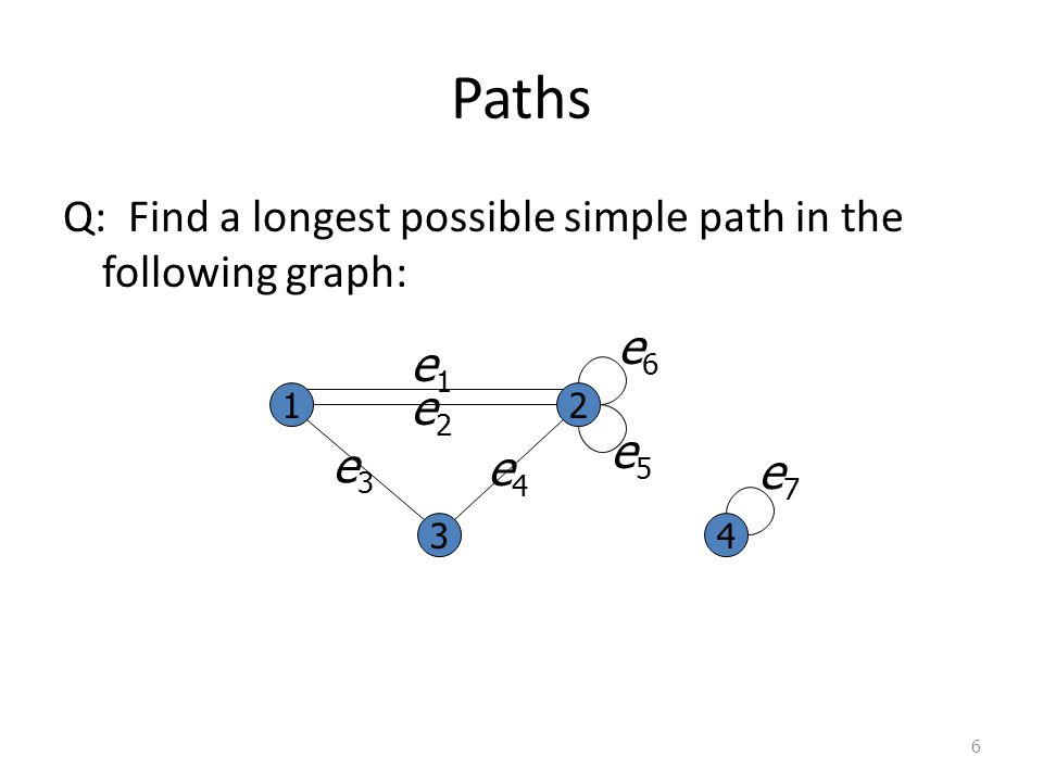 Paths Q: Find a longest possible simple path in the following graph: e1e1 e3e3 e2e2 e4e4 e5e5 e6e6 e7e7