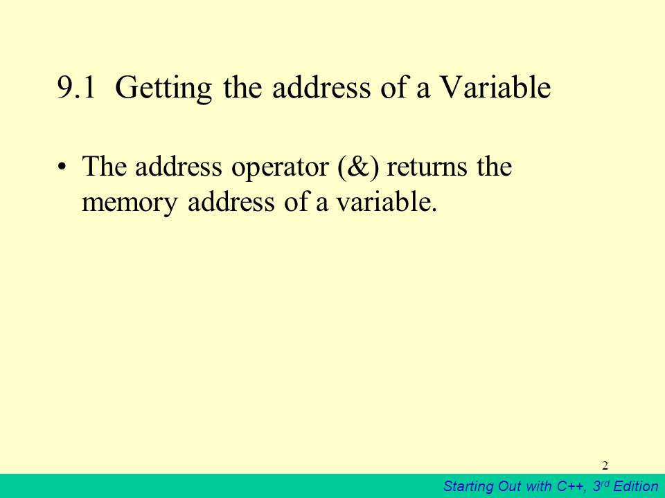 Starting Out with C++, 3 rd Edition Getting the address of a Variable The address operator (&) returns the memory address of a variable.