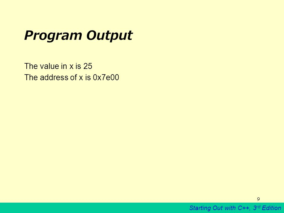 Starting Out with C++, 3 rd Edition 9 Program Output The value in x is 25 The address of x is 0x7e00