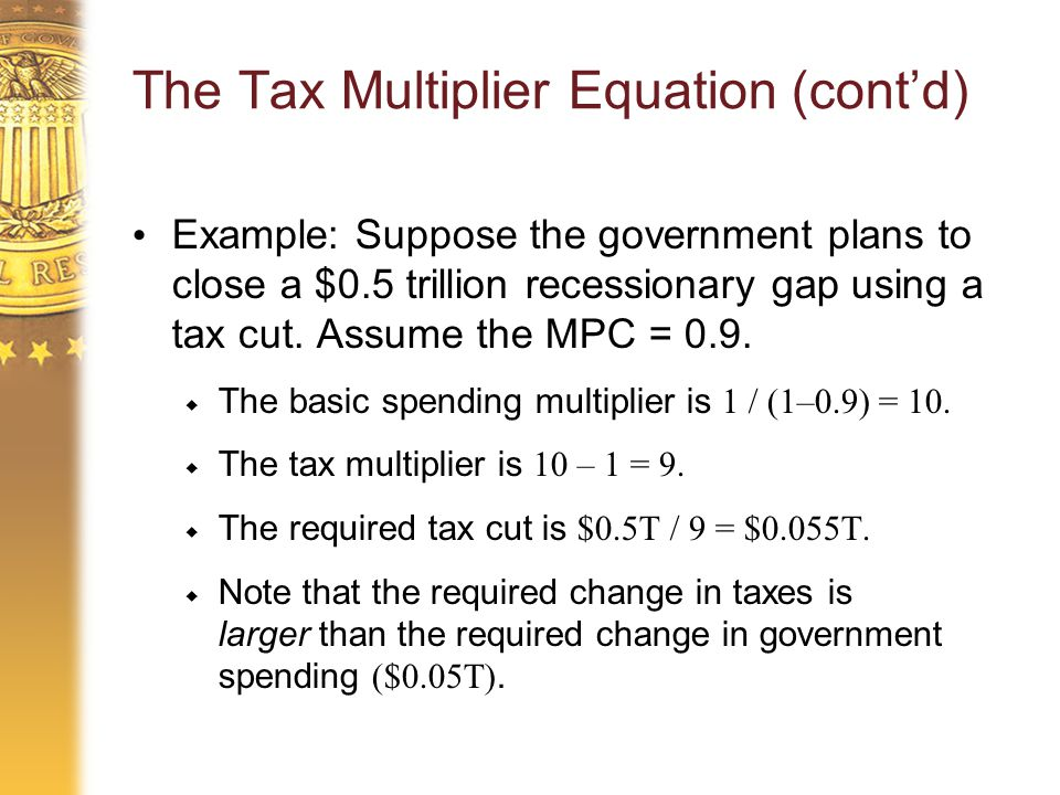 The Tax Multiplier Equation (cont'd) Example: Suppose the government plans to close a $0.5 trillion recessionary gap using a tax cut.