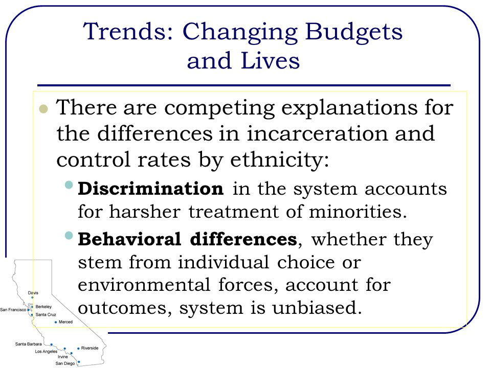Trends: Changing Budgets and Lives There are competing explanations for the differences in incarceration and control rates by ethnicity: Discrimination in the system accounts for harsher treatment of minorities.