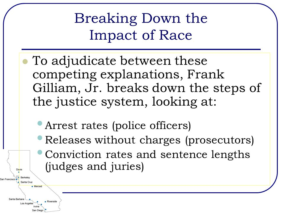 Breaking Down the Impact of Race To adjudicate between these competing explanations, Frank Gilliam, Jr.