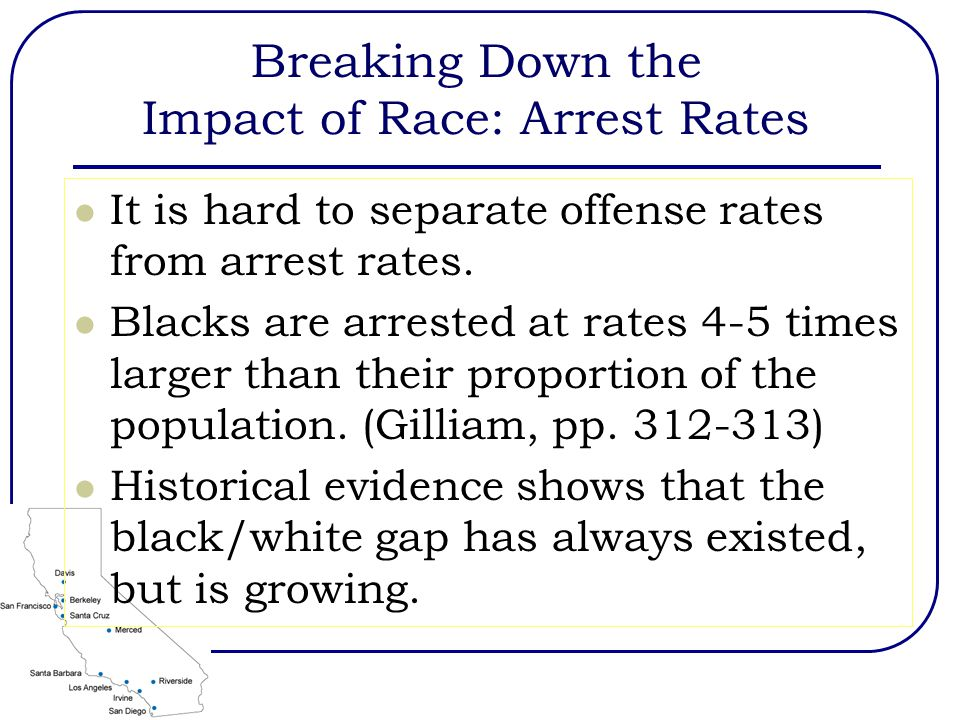 Breaking Down the Impact of Race: Arrest Rates It is hard to separate offense rates from arrest rates.