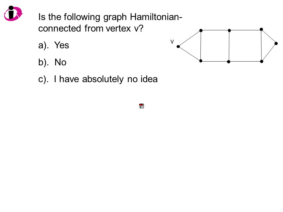 Is the following graph Hamiltonian- connected from vertex v.