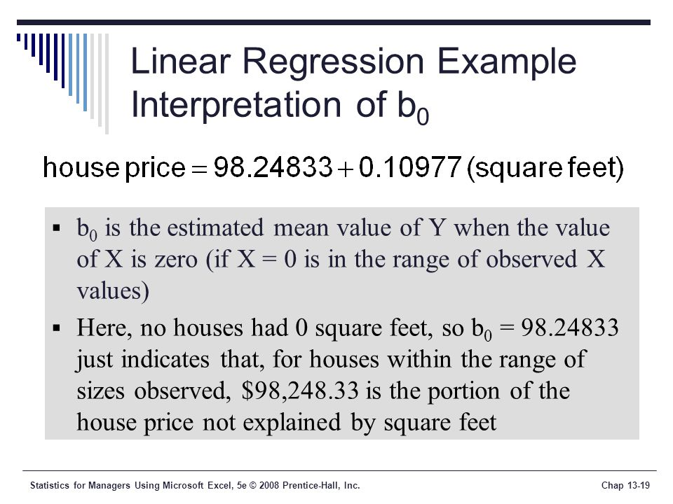 Statistics for Managers Using Microsoft Excel, 5e © 2008 Prentice-Hall, Inc.Chap Linear Regression Example Interpretation of b 0  b 0 is the estimated mean value of Y when the value of X is zero (if X = 0 is in the range of observed X values)  Here, no houses had 0 square feet, so b 0 = just indicates that, for houses within the range of sizes observed, $98, is the portion of the house price not explained by square feet