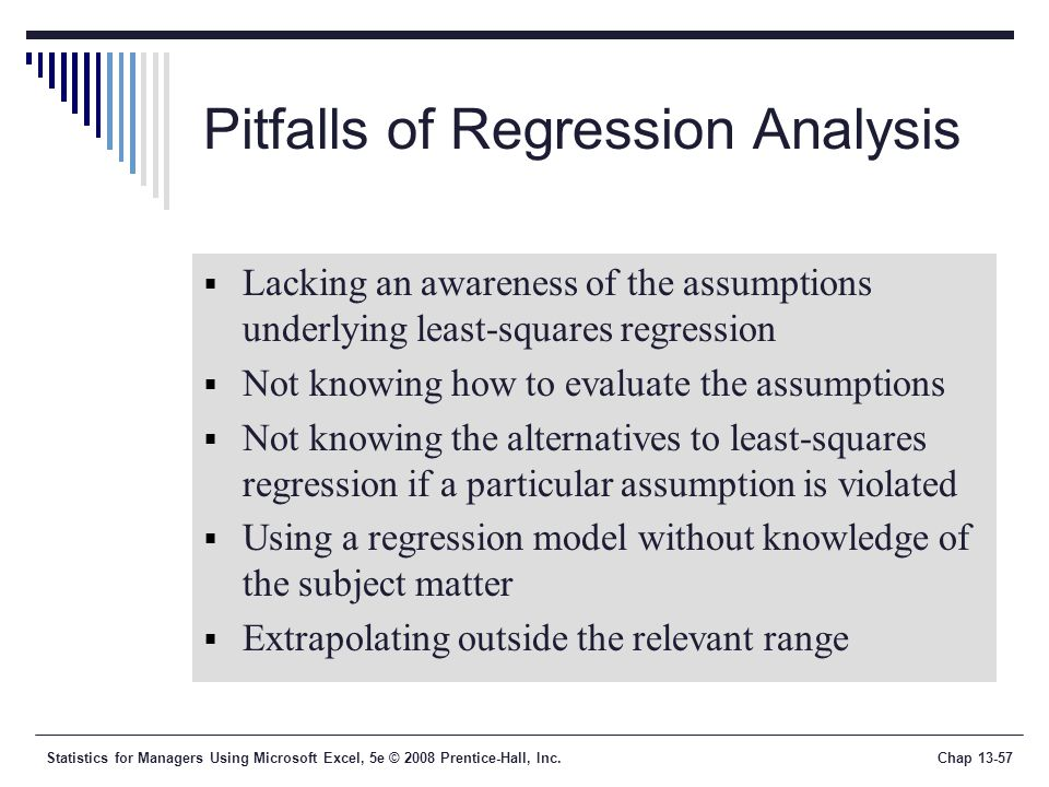 Statistics for Managers Using Microsoft Excel, 5e © 2008 Prentice-Hall, Inc.Chap Pitfalls of Regression Analysis  Lacking an awareness of the assumptions underlying least-squares regression  Not knowing how to evaluate the assumptions  Not knowing the alternatives to least-squares regression if a particular assumption is violated  Using a regression model without knowledge of the subject matter  Extrapolating outside the relevant range
