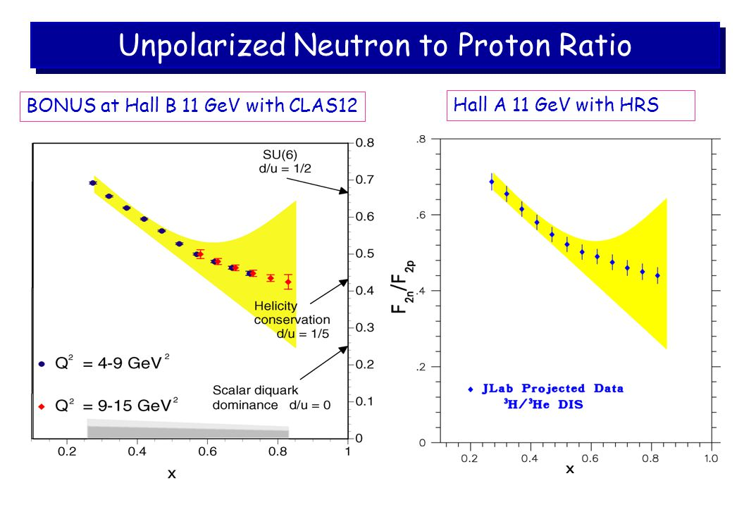 Unpolarized Neutron to Proton Ratio Hall A 11 GeV with HRS BONUS at Hall B 11 GeV with CLAS12