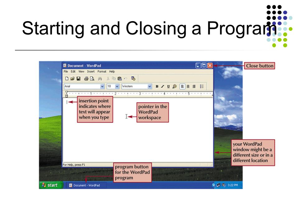 Starting and Closing a Program