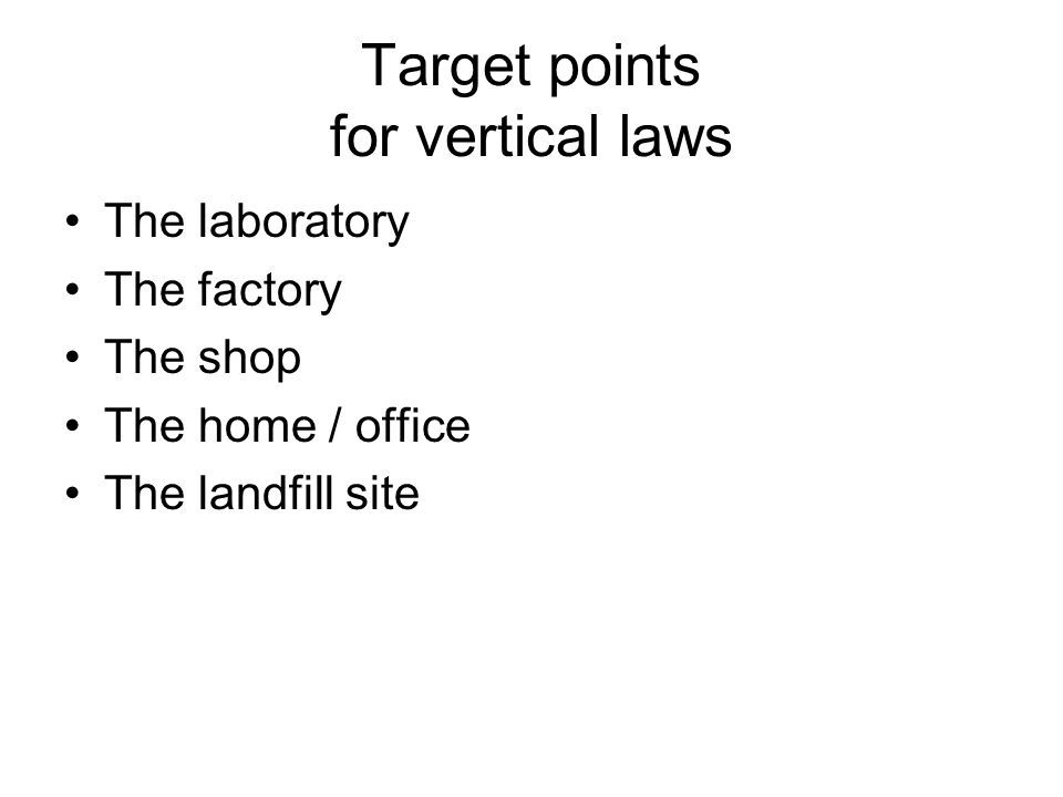 Target points for vertical laws The laboratory The factory The shop The home / office The landfill site