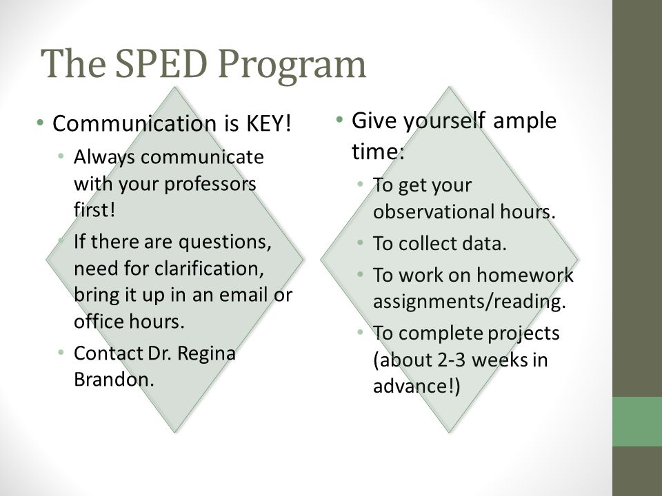 The SPED Program Communication is KEY. Always communicate with your professors first.