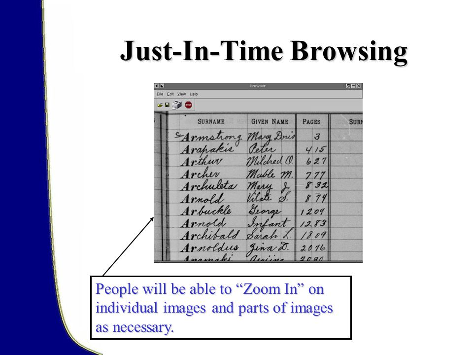Just-In-Time Browsing People will be able to Zoom In on individual images and parts of images as necessary.