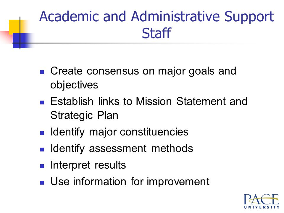Academic and Administrative Support Staff Create consensus on major goals and objectives Establish links to Mission Statement and Strategic Plan Identify major constituencies Identify assessment methods Interpret results Use information for improvement