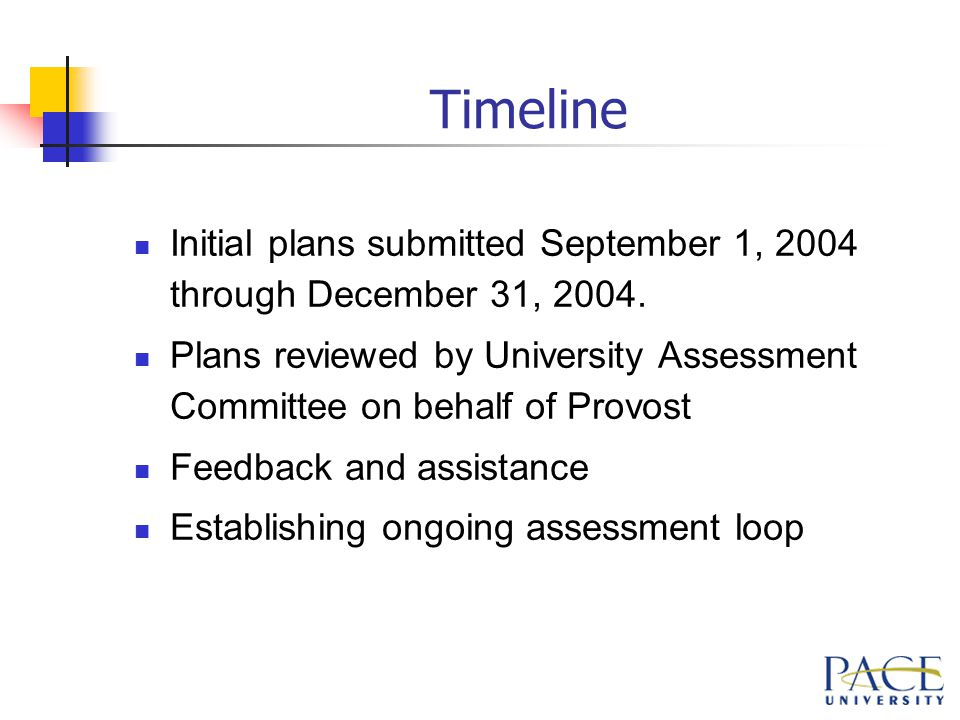 Timeline Initial plans submitted September 1, 2004 through December 31, 2004.