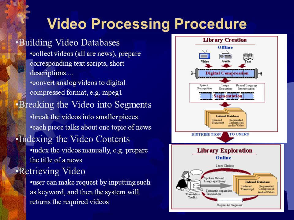 Video Processing Procedure Building Video Databases collect videos (all are news), prepare corresponding text scripts, short descriptions....