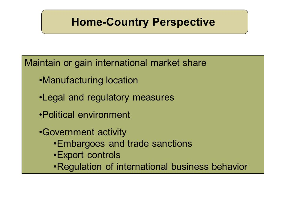 Home-Country Perspective Maintain or gain international market share Manufacturing location Legal and regulatory measures Political environment Government activity Embargoes and trade sanctions Export controls Regulation of international business behavior