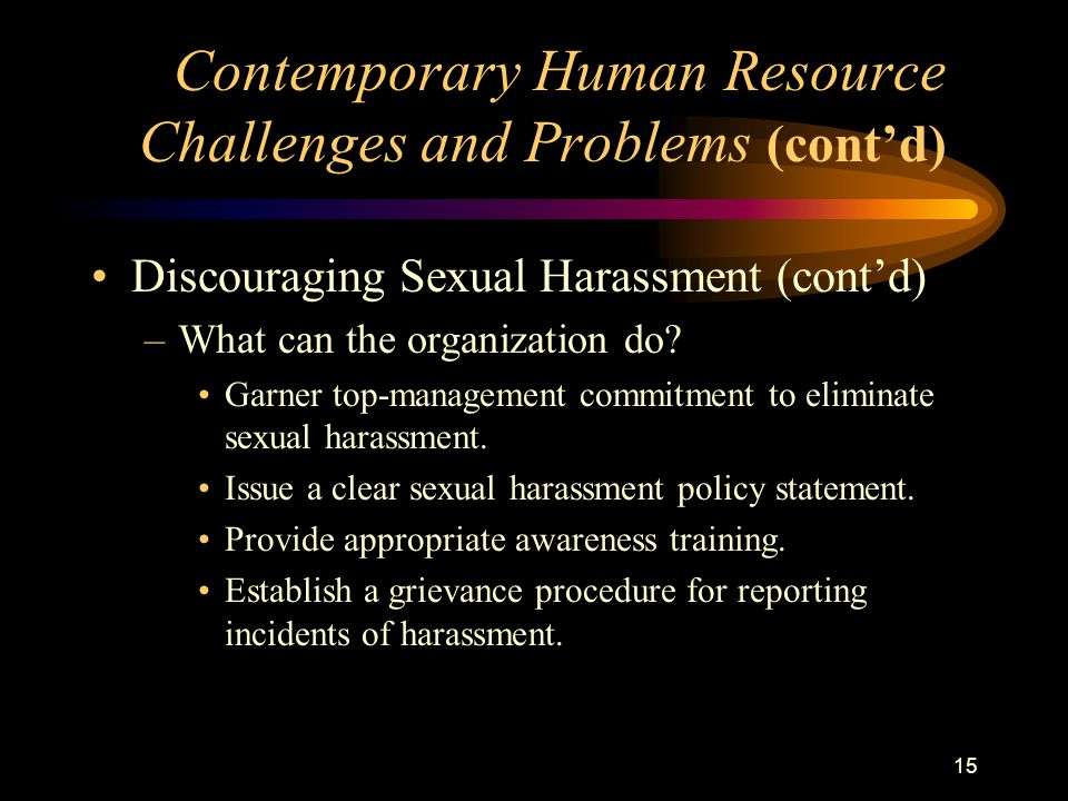 15 Discouraging Sexual Harassment (cont'd) –What can the organization do.