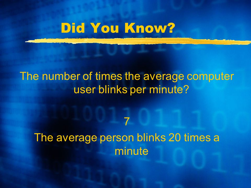 Did You Know. The number of times the average computer user blinks per minute.