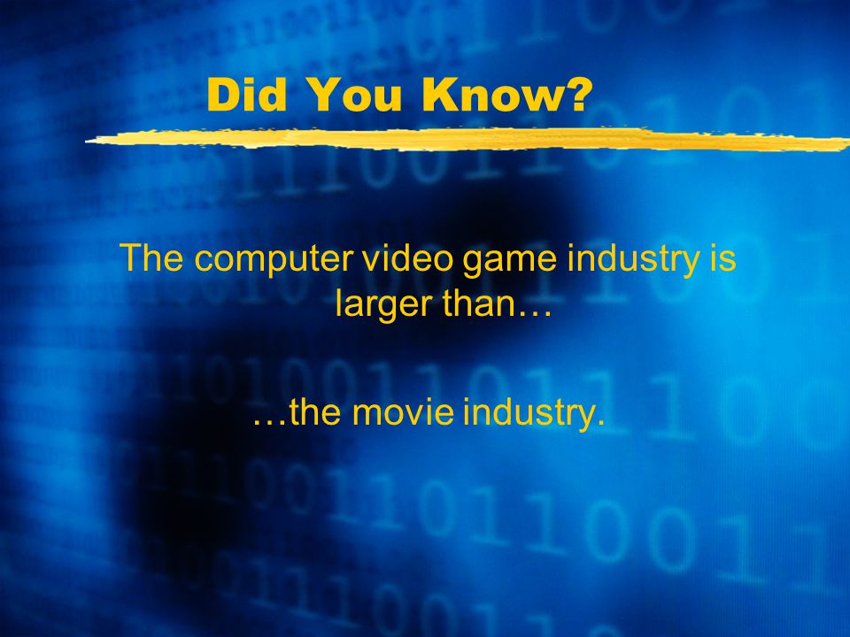 Did You Know The computer video game industry is larger than… …the movie industry.