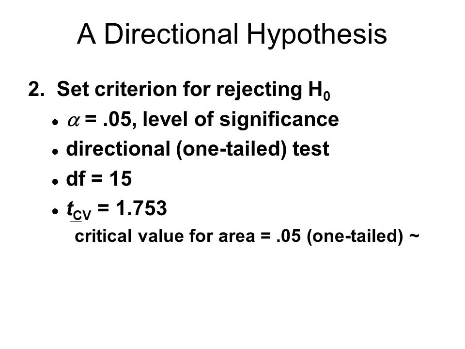 A Directional Hypothesis 2.